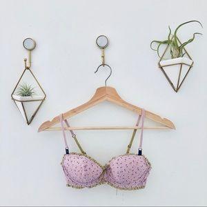 VICTORIAS SECRET lined Demi lilac star lace bra